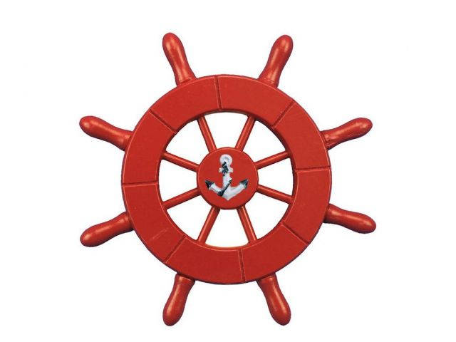 Red Decorative Ship Wheel With Anchor 6