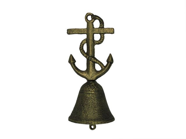 Rustic Gold Cast Iron Anchor With Rope Hand Bell 6