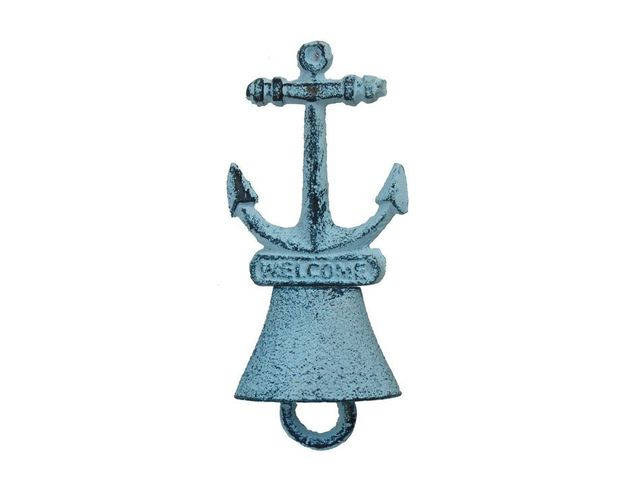 Rustic Dark Blue Whitewashed Cast Iron Anchor Hand Bell 5