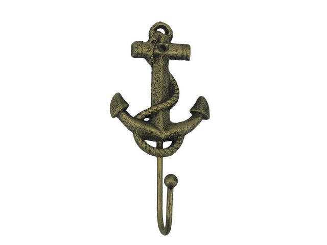 Rustic Gold Cast Iron Anchor Hook 7