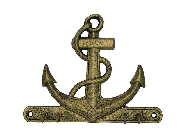 Rustic Gold Cast Iron Anchor with Hooks 8