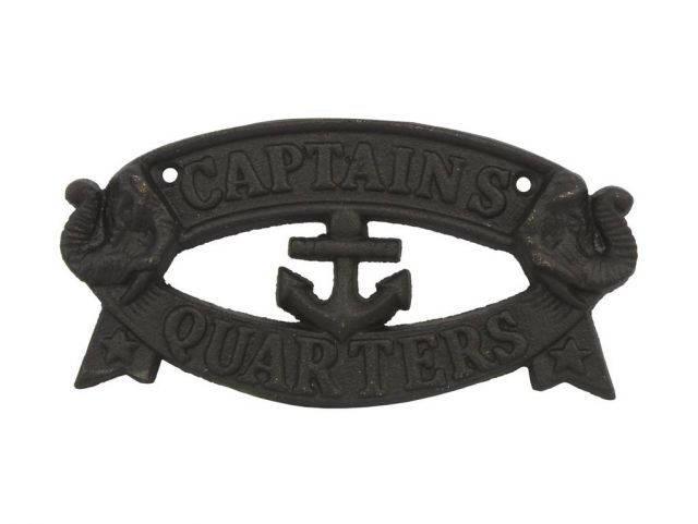 Rustic Black Cast Iron Captains Quarters Sign 8
