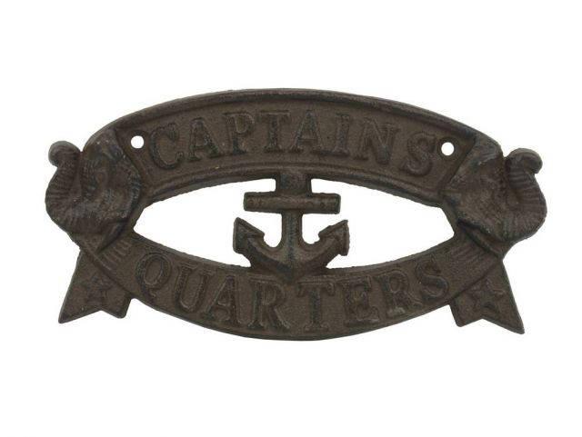 Cast Iron Captains Quarters Sign 8