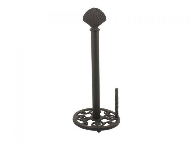 Rustic Black Cast Iron Seashell Paper Towel Holder 16