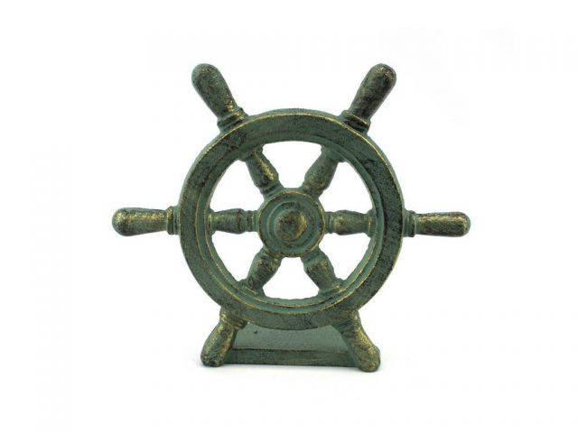 Antique Bronze Cast Iron Ship Wheel Door Stopper 9