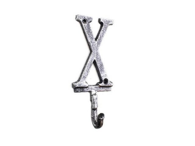 Rustic Silver Cast Iron Letter X Alphabet Wall Hook 6