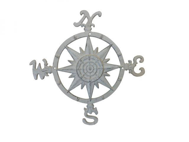 Aged White Cast Iron Large Decorative Rose Compass 19