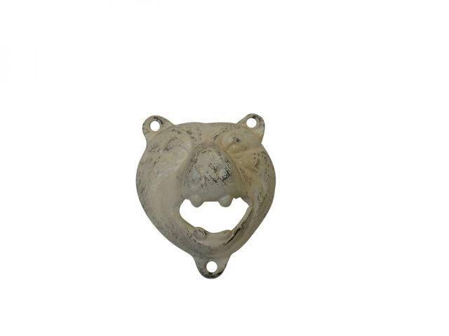 Aged White Cast Iron Bear Bottle Opener 4