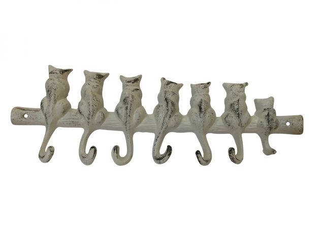 Aged White Cast Iron Cat Wall Hooks 13