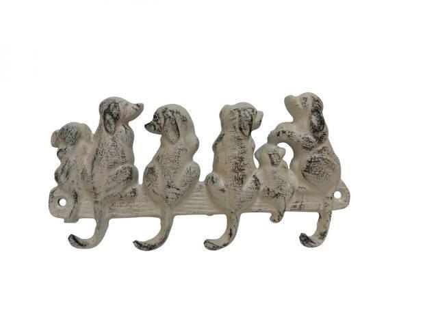 Aged White Cast Iron Dog Wall Hooks 8