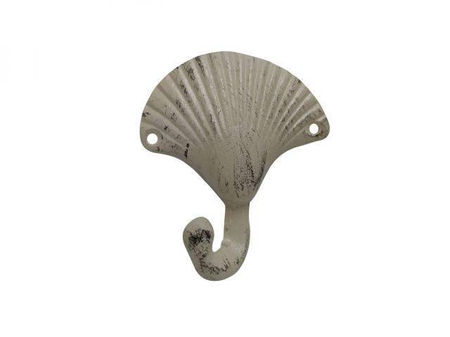 Aged White Cast Iron Seashell Hook 4