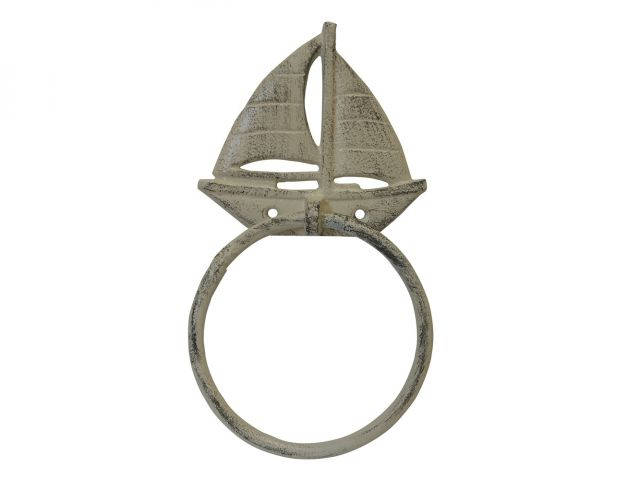 Aged White Cast Iron Sailboat Towel Holder 8
