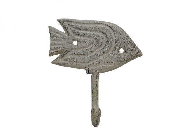 Aged White Cast Iron Angel Fish Wall Hook 5