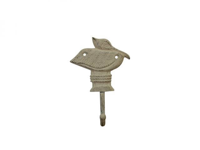 Aged White Cast Iron Pelican on Post Wall Hook 7