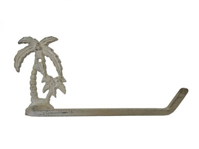 Aged White Cast Iron Palm Tree Toilet Paper Holder 10