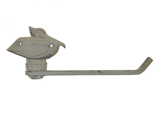 Aged White Cast Iron Pelican Toilet Paper Holder 11