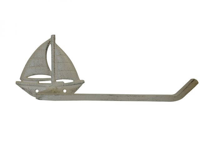 Aged White Cast Iron Sailboat Toilet Paper Holder 11