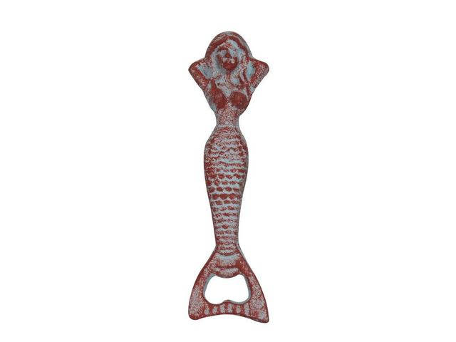 Rustic Red Whitewashed Cast Iron Resting Mermaid Bottle Opener 7