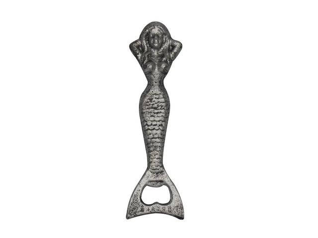 Rustic Silver Cast Iron Resting Mermaid Bottle Opener 7