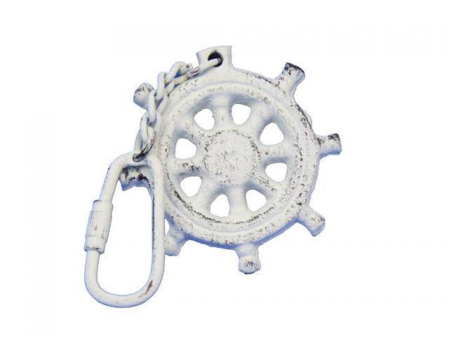 Whitewashed Cast Iron Ship Wheel Key Chain 5
