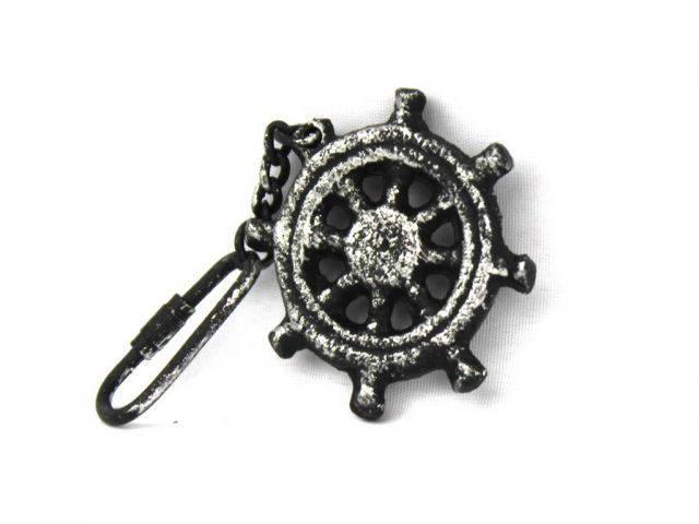 Antique Silver Cast Iron Ship Wheel Key Chain 5