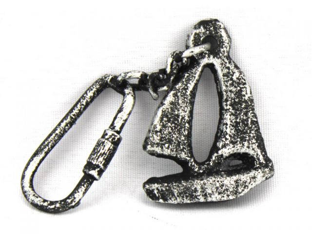 Antique Silver Cast Iron Sailboat Key Chain 5