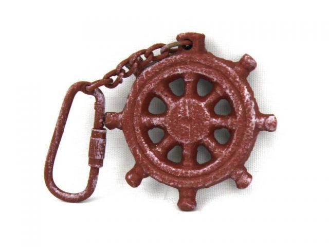 Red Whitewashed Cast Iron Ship Wheel Key Chain 5