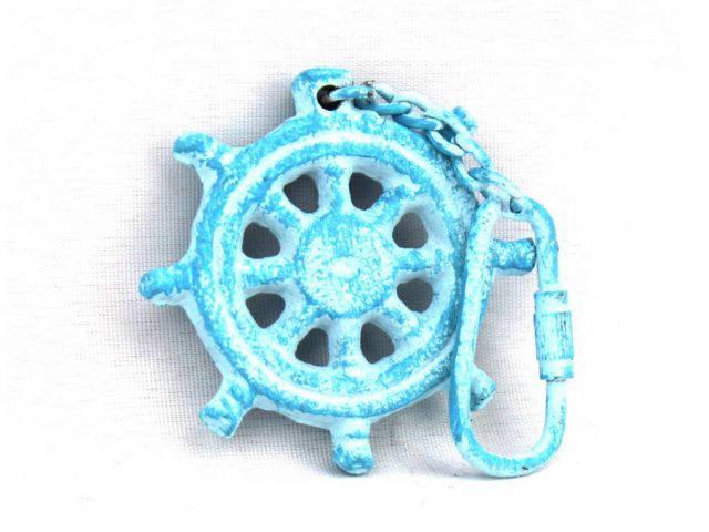 Light Blue Whitewashed Cast Iron Ship Wheel Key Chain 5