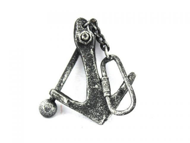 Antique Silver Cast Iron Anchor Key Chain 5