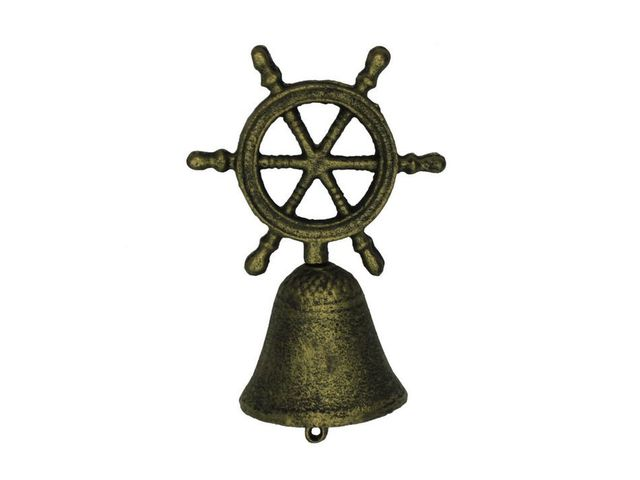 Rustic Gold Cast Iron Ship Wheel Hand Bell 6