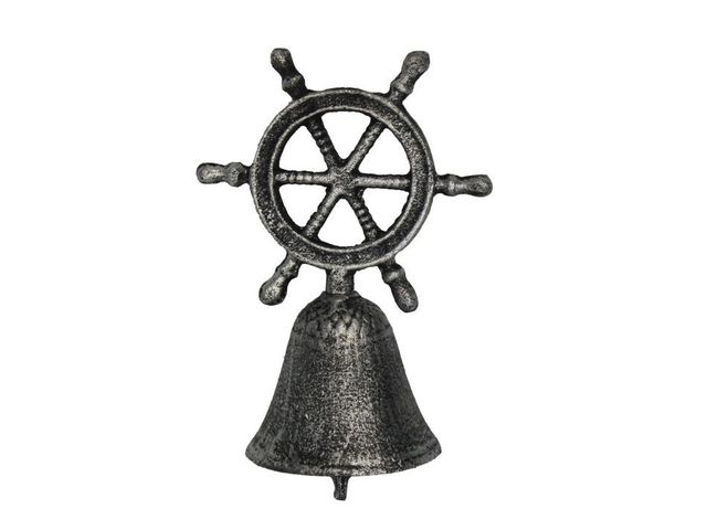 Rustic Silver Cast Iron Ship Wheel Hand Bell 6