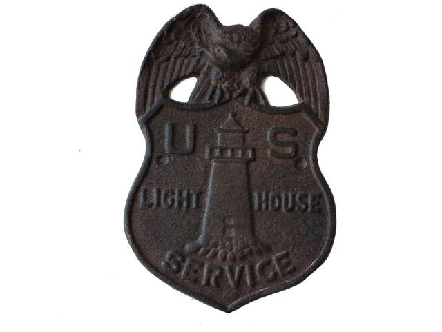 Rustic Iron US Lighthouse Service Sign 9
