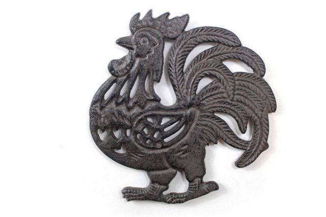 Cast Iron Rooster Shaped Trivet 8
