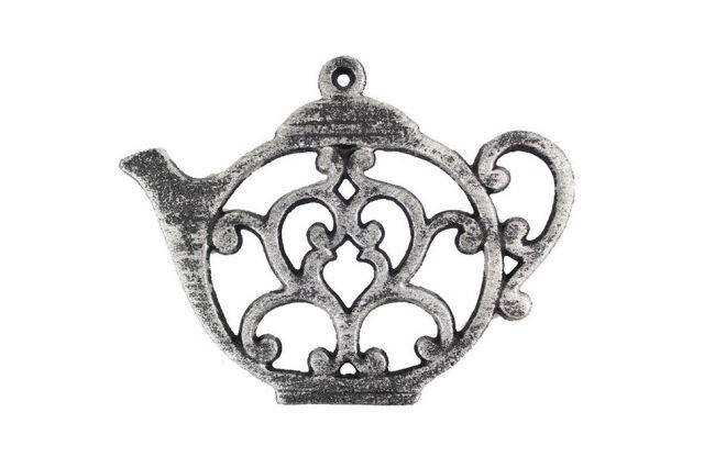 Rustic Silver Cast Iron Round Teapot Trivet 8