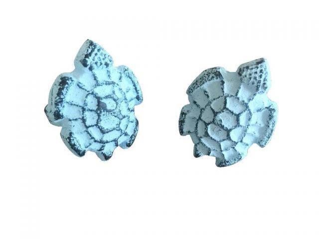 Dark Blue Whitewashed Cast Iron Turtle Decorative Napkin Ring 4 - set of 2