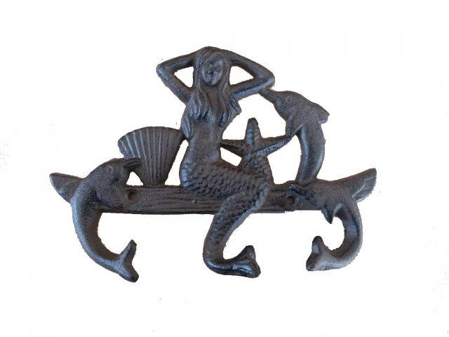 Cast Iron Wall Mounted Mermaid with Dolphin Hooks 9