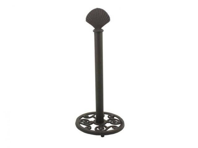 Rustic Black Cast Iron Seashell Extra Toilet Paper Stand 16
