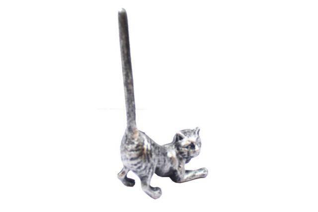 Rustic Silver Cast Iron Cat Paper Towel Holder 10