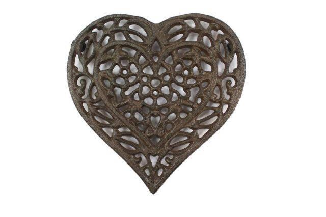 Cast Iron Heart Shaped Trivet 7