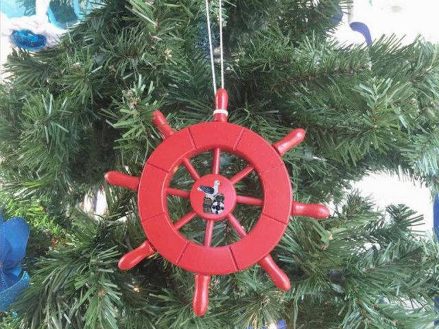 Red Decorative Ship Wheel with Seagull Christmas Tree Ornament 6