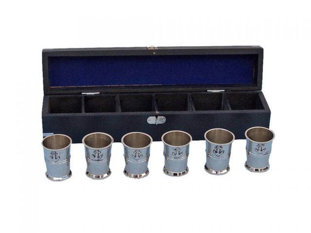 Chrome Anchor Shot Glasses With Rosewood Box 12 - Set of 6