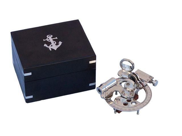Chrome Round Sextant with Black Rosewood Box 4
