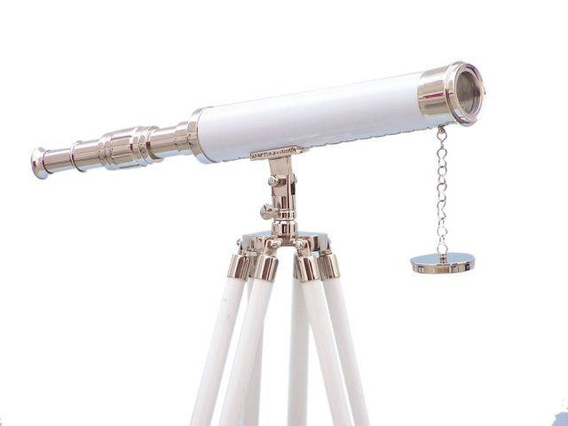 Floor Standing Chrome - White Leather Harbor Master Telescope 50