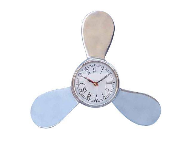 Chrome Ships Propeller Clock 12