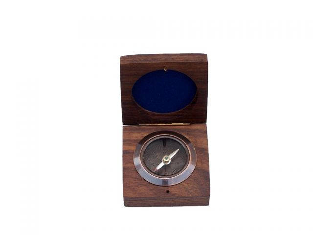 Antique Copper Desk Compass with Rosewood Box 3