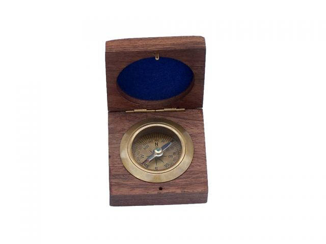 Antique Brass Desk Compass with Rosewood Box 3
