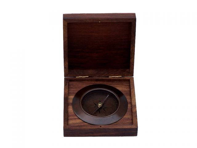 Antique Copper Admirals Desk Compass with Rosewood Box 5