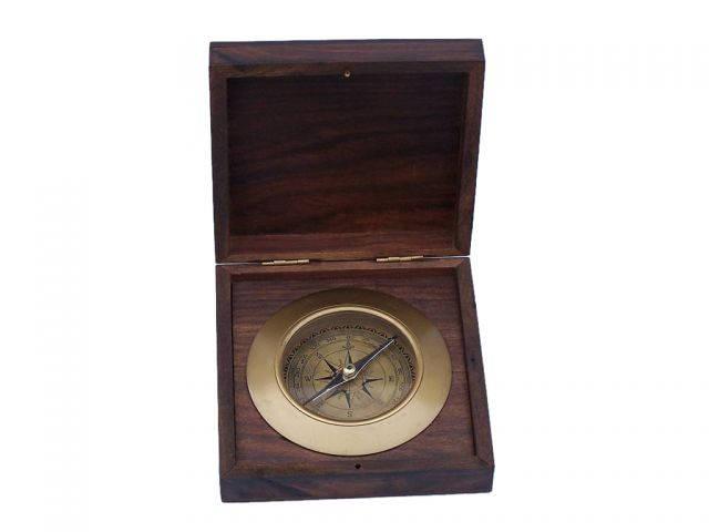 Antique Brass Admirals Desk Compass with Rosewood Box 5