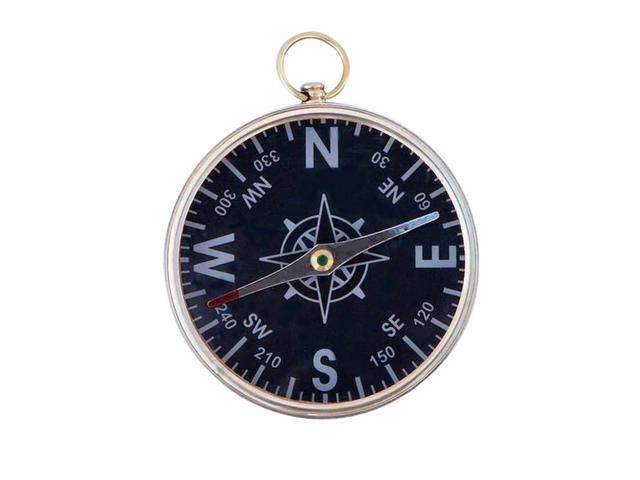 Solid Brass Admirals Black Faced Compass 4