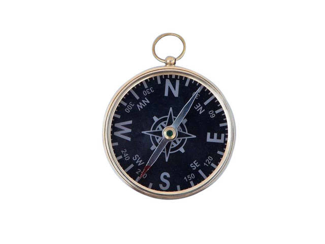 Solid Brass Captains Black Faced Compass 3